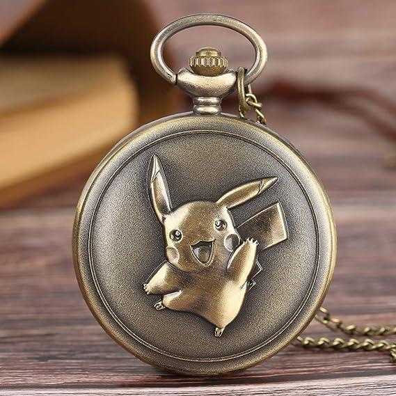 Amazon.com: Retro Mens Pocket Watch, Kawaii Pikachu Pocket Watch Japan Anime Pokemon Theme Cartoon Clock Cute Gifts for Kids (Pikachu): Watches