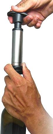 Vinbouquet Sacacorchos & Bomba FI 002 Set sacacorchos el eléctrico Incluye Dos Tapones y degollador, Acero Inoxidable, Deluxe con Bomba Vacío, Centimeters