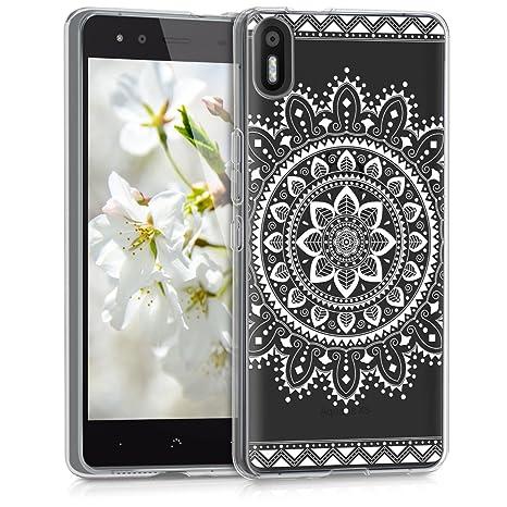 kwmobile Funda para bq Aquaris X5 - Carcasa de [TPU] para móvil y diseño de Flores Aztecas en [Blanco/Transparente]