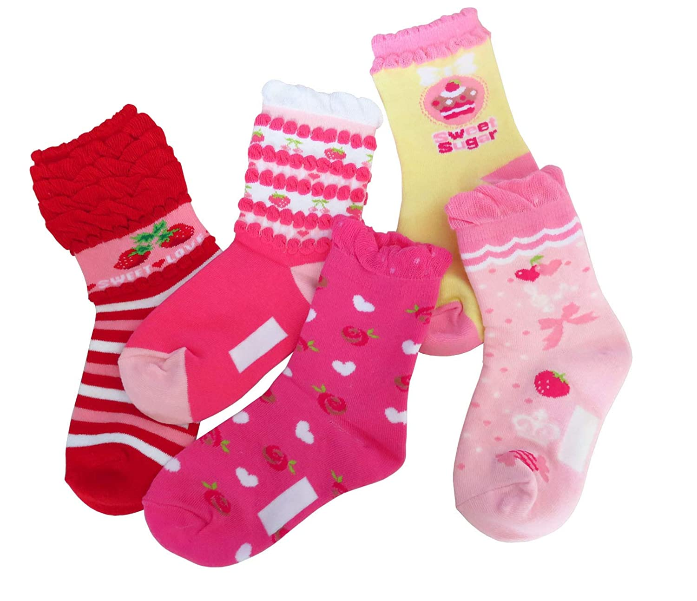 JIEEN Toddlers Kids Girl Cute Ruffle Princess Cotton Crew Socks 5 Pairs