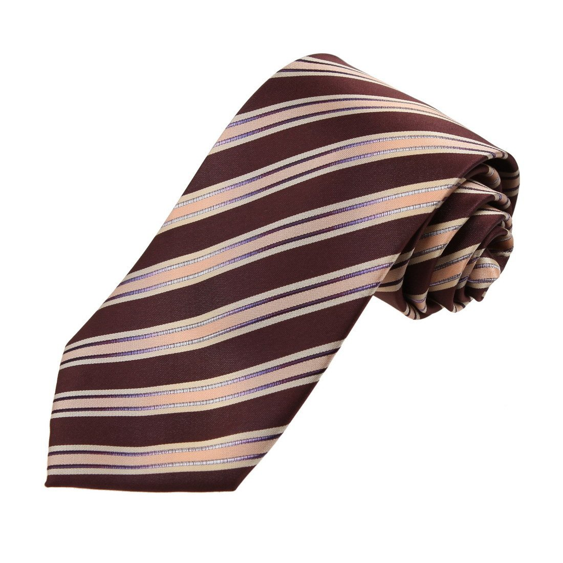 DAA7A07A Brown Khaki Stripes Microfiber Neck Tie Elegant For Dad Neckwear By Dan Smith