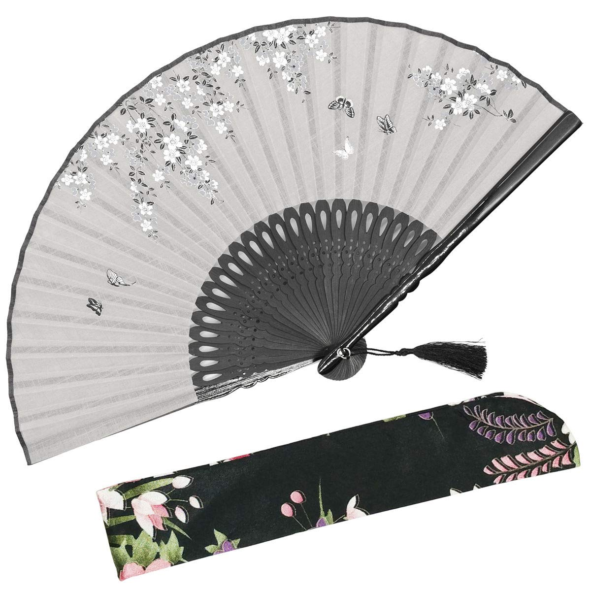 OMyTea ''Sakura Love Chinese/Japanese Folding Hand Held Fan for Women - With a Fabric Sleeve for Protection - for Wedding, Dancing, Church, Party, Gifts (Gray)