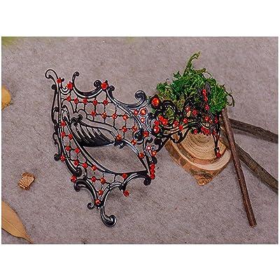 Mascarade Masque vénitien Métal Mince Avec Diamant Halloween au bal masqué Masque carnaval deguisement Rouge