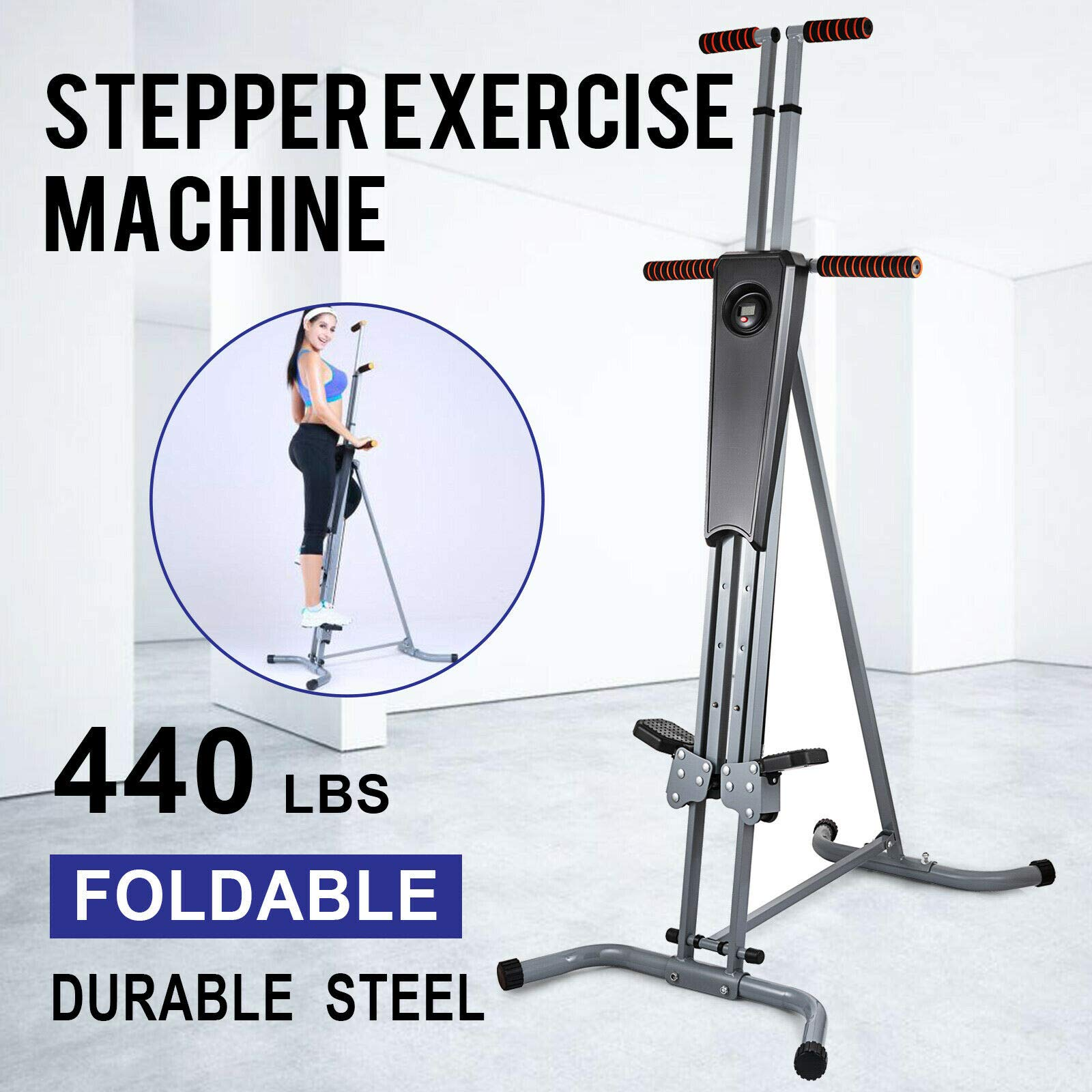 440Lb Sturdy & Durable Exercise Climber Stepper Cardio Climbing Machine LCD Workout Vertical Cardio Lightweight & 5 Levels Adjustable Height Full-Body Workout Machine for Leg Exercise Cardio Workout by Sunnady