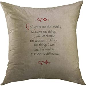 Mugod Decorative Throw Pillow Cover for Couch Sofa,Step Serenity Prayer Vintage Recovery Home Decor Pillow Case 18x18 Inch