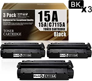 15A | C7115A(3-Pack Black) Compatible Ink Cartridge Replacement for HP 1000 1150 1005W 1200 1200n 1200se 1220 1220se 3300 3310 3320 3320n 3330 3380 MFP Printers Toner Cartridge.