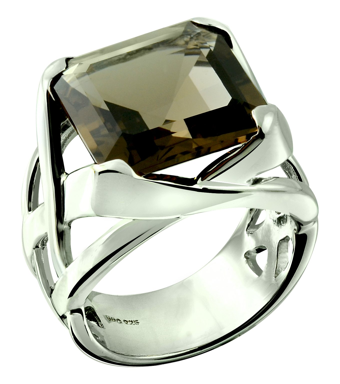 RB Gems Sterling Silver 925 STATEMENT Ring GENUINE SMOKY QUARTZ 11.80 Carats with RHODIUM-PLATED Finish (5, smoky-quartz)