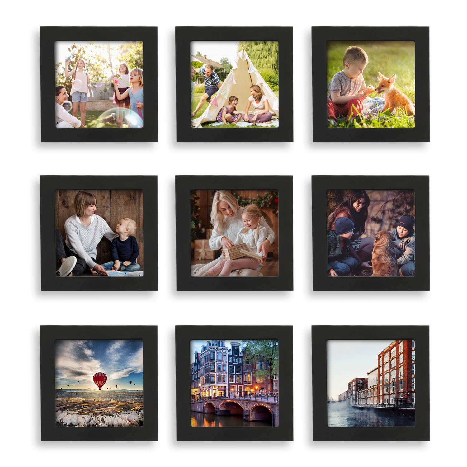 Home Margo, 4x4 Frames, Black Picture Frame Instagram Photo Collage Frame, Set of 9, 4 Inch Square Small Picture Frames by Home Margo