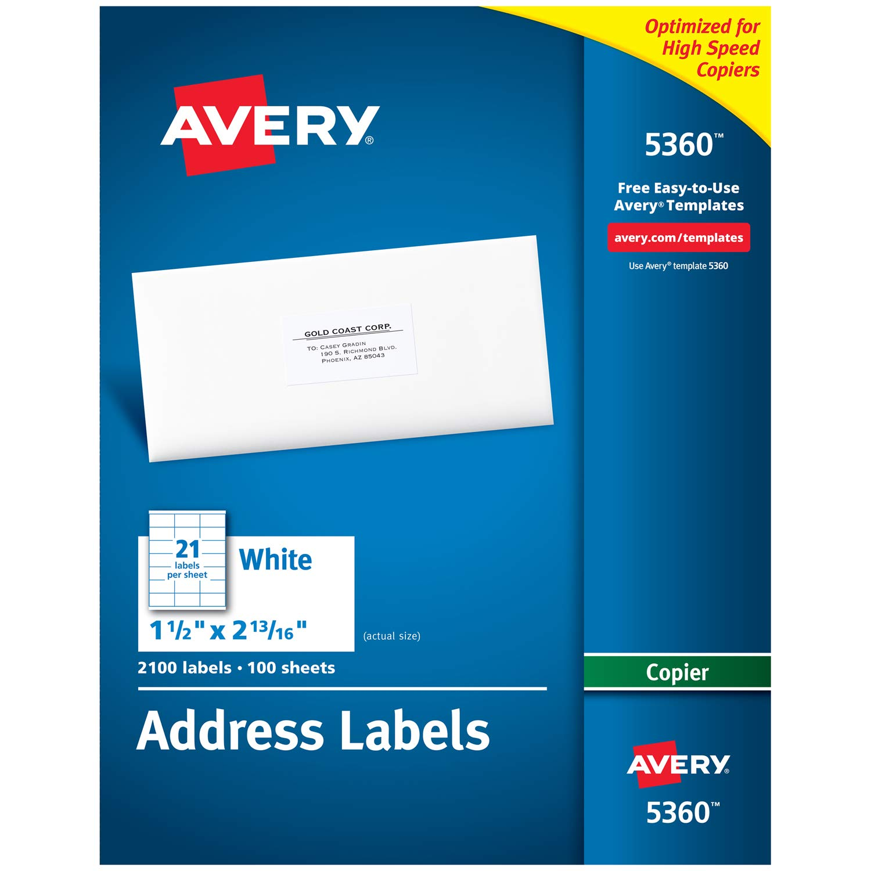 "B00005QT7V Avery Address Labels for Copiers, 1"" x 2-13/16"", 2,100 White Labels (5360) 71oz26LSOSL"