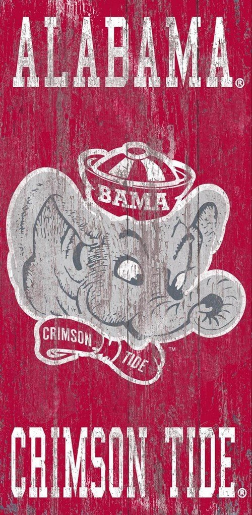 Fan Creations University of Alabama Heritage Distressed Logo w/Team Name 6x12 w, One Size, Multi
