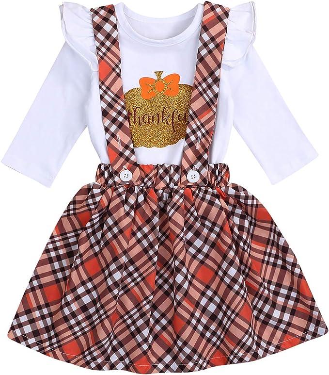Baby Girl Halloween Outfit Ruffle Sleeve Romper+Pumpkin Suspender Skirt 2pcs Clothes Set