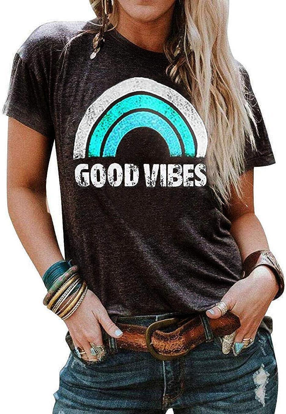 Vaise Womens Graphic Good Vibes Tank Tops Casual Summer Tank Tops Short Sleeve Shirts Tunics Rainbow Good Vibes Shirt