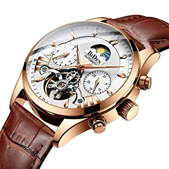 Luxury Men Watches Automatic Mechanical Watch Tourbillon Moon Phase Brown Leather Casual Business Wristwatch Relojes Hombre