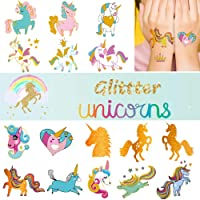 Ooopsi Unicorn Tattoos for Kids - 58 Gold Glitter Styles, Unicorn Party Favors and...
