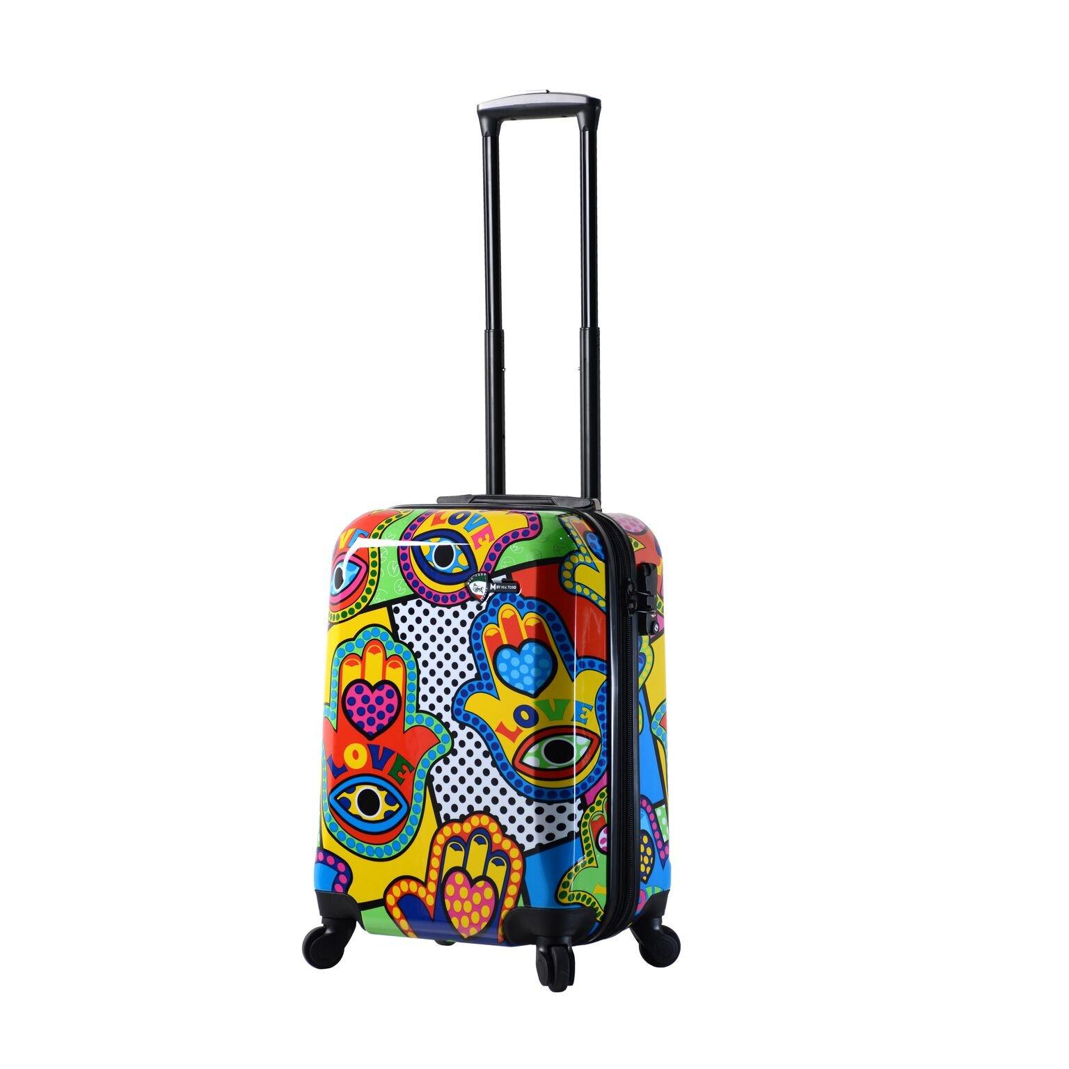 Mia Toro Italy Hamsa Love Multicolor Hard Side Spinner Luggage 20'' Carry-on, Multi