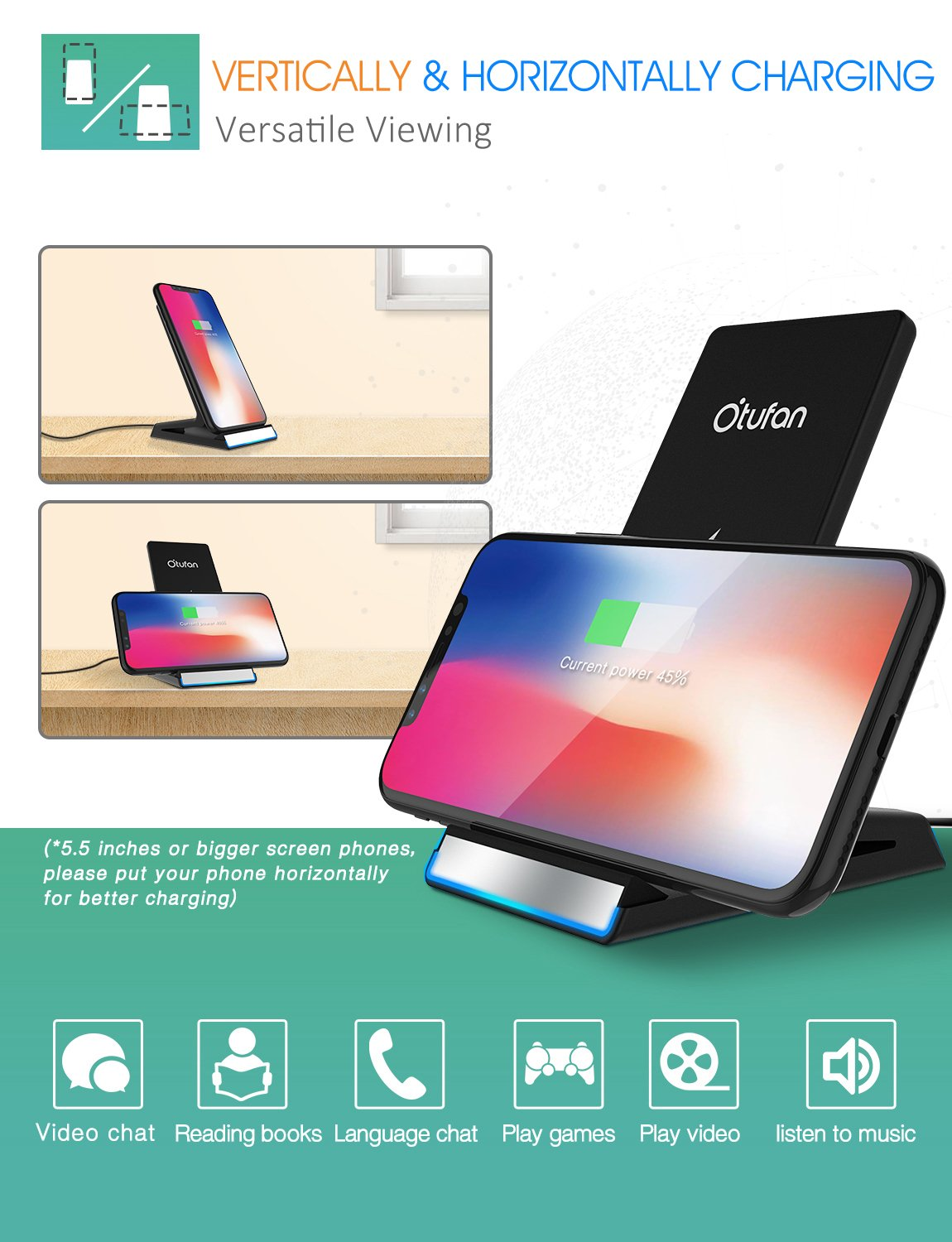 Iphone X Wireless Charger Otufan Qi Cell Phone Shield With Stand For 8 Plus And Fast Charging Samsung
