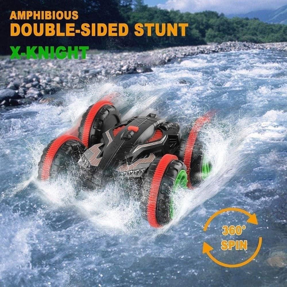 Zhangl Ricaricabile Guida del Veicolo RC Stunt Elettrico 2.4G Grande RC Giocattolo Migliore Regalo Impermeabile Anfibio Telecomando Auto su Due Lati for Bambini e Adulti