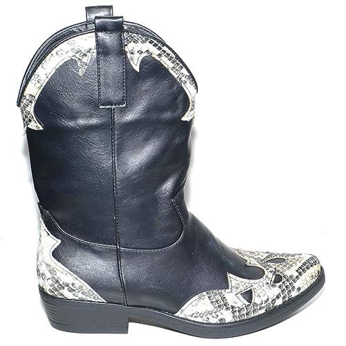 grande sconto per moda stile classico Camperos Donna Stivali Texani Tipo Western Neri Altezza Polpaccio con  Stampa Animalier in Punta Moda Glamour