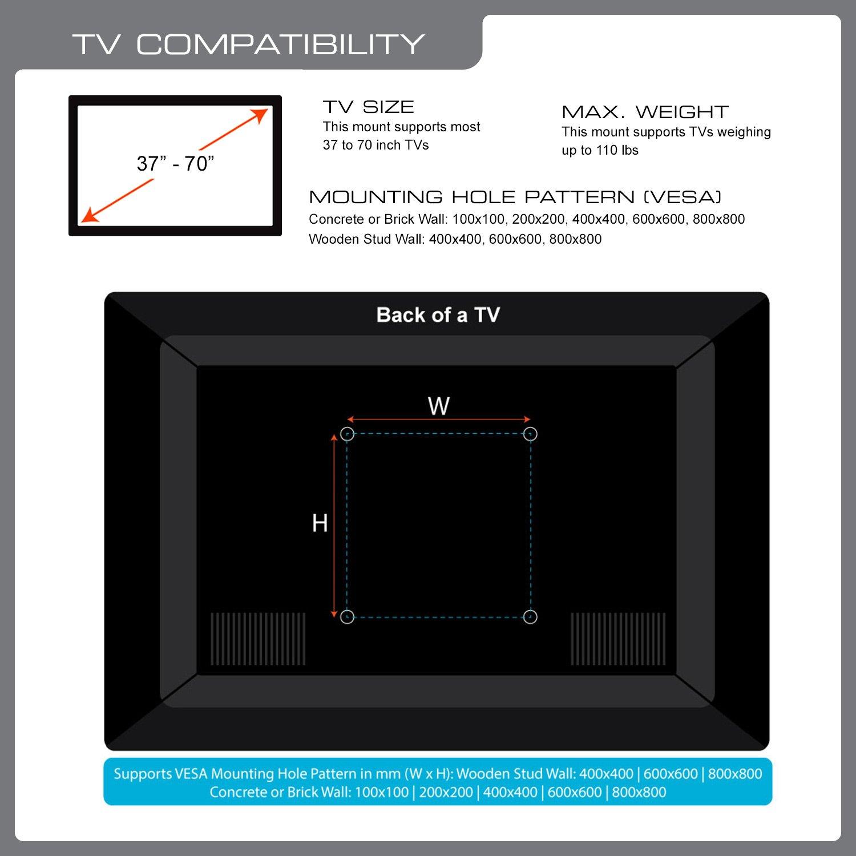 Amazon.com: QualGear QG-TM-001 37-Inch to 70-Inch Universal Ultra ...
