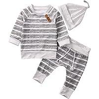 Maruxiong 2019 Neugeborenes Baby Boy Kleidung Sets Strampler Gestreifte Oberteile T-Shirt Hose Hut Outfit Baumwolle Body, Hellgrau