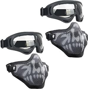 Infityle Airsoft Masks- Adjustable Half Metal Steel Mesh Face Mask and UV400 Goggles Set for Hunting, Paintball, Shooting (Black+Black, 2 Set)