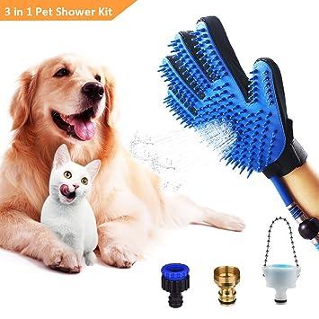 Babacom Guantes para Mascotas, 3 en 1 Herramienta de Baño para Perros Gatos Caballo,