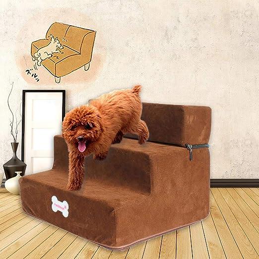 BaZhaHei Escaleras para Perros Esponja de Alta Densidad para Mascotas Escalera Inferior Antideslizante Cama para Mascotas Gato Rampa 3 Pasos Esponja para Gatos y Perros: Amazon.es: Hogar