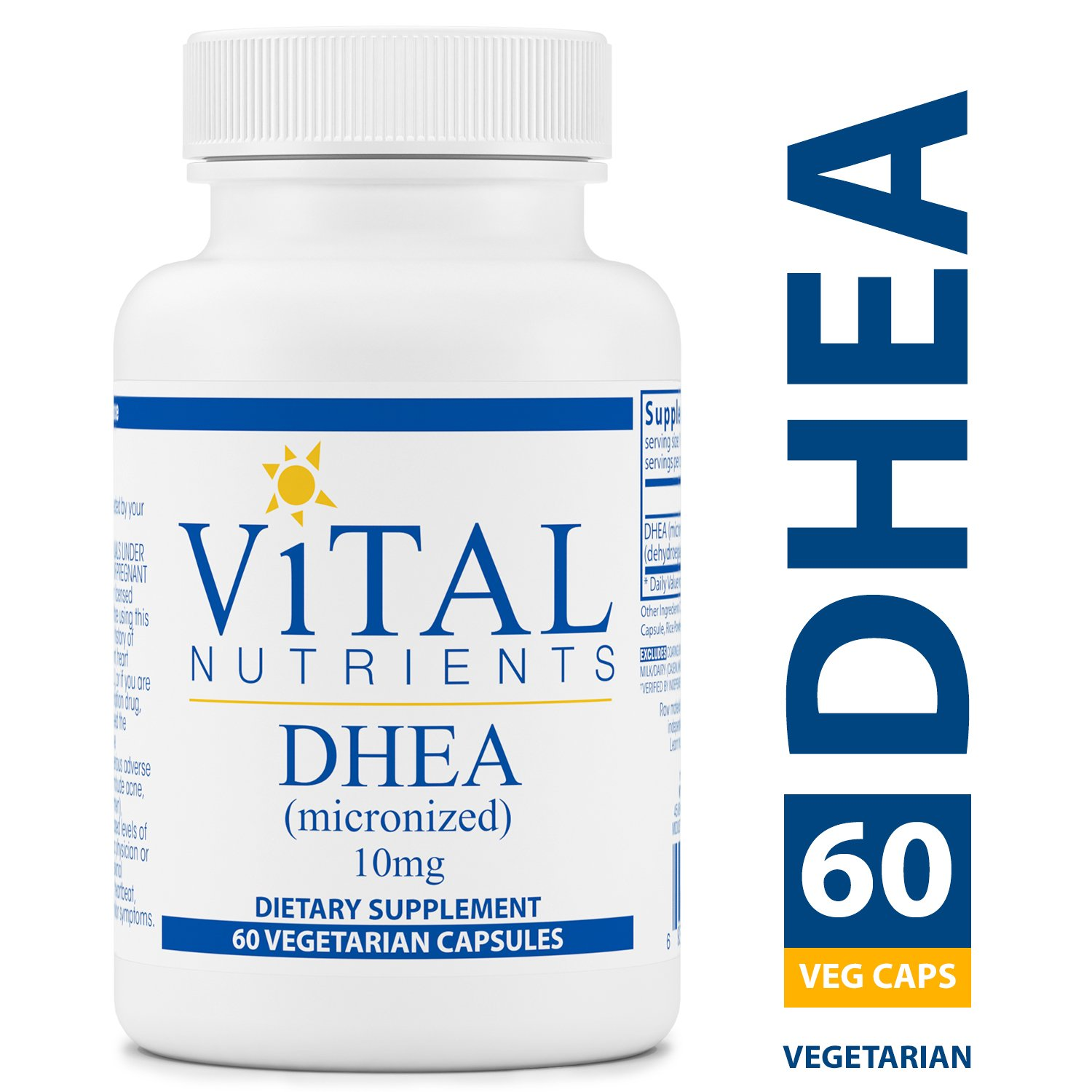 Vital Nutrients - DHEA (Micronized) 10 mg - Supports Metabolism, Hormone Levels and Energy Levels - 60 Capsules