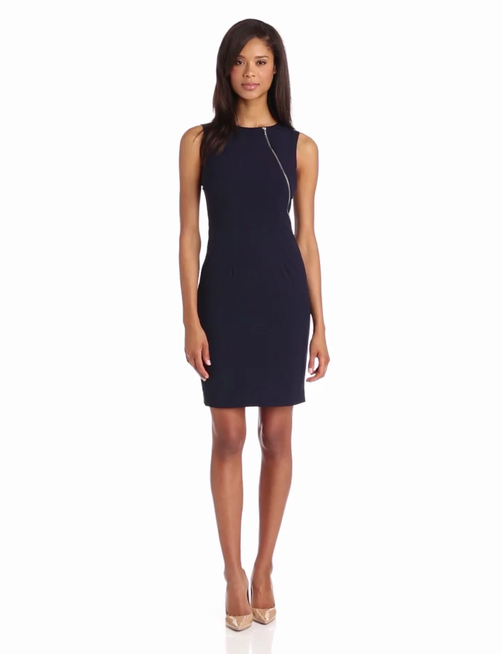 Calvin Klein Womens Sheath Dress With Zipper Detail