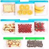 Reusable Storage Bags 8 Pack, 6 Reusable Sandwich Bags & 2 Reusable Snack Bags, Leakproof Ziplock Freezer Bags BPA Free…