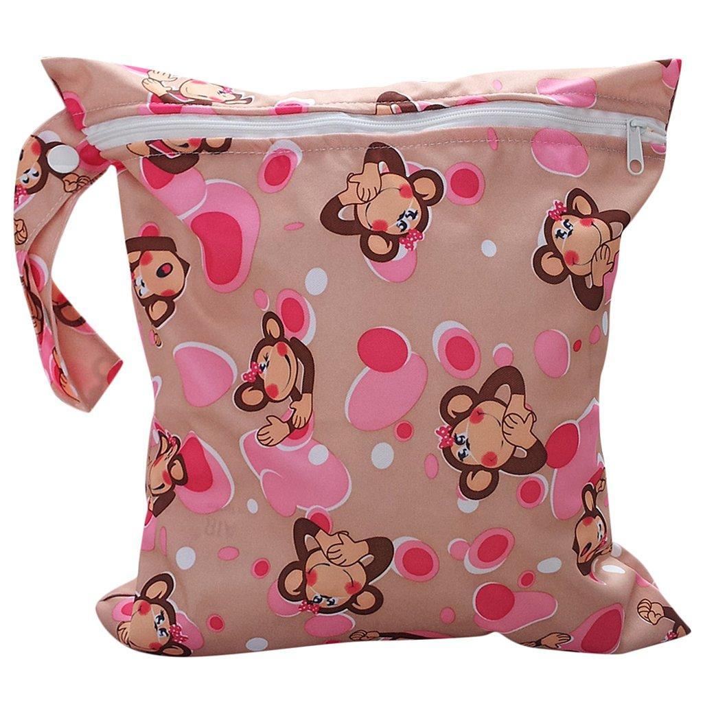 Bolsa de Pañales Reutilizable Bolsa con Cremallera Impermeable para mamá con Dibujo de Mono Generic