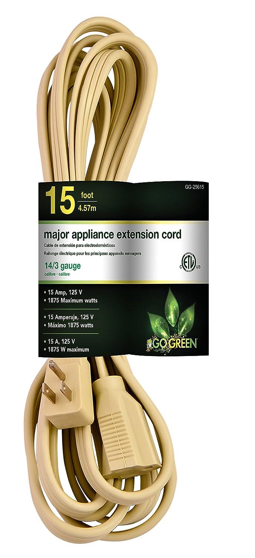 GoGreen Power GG-25615 14/3 15' SPT A/C Extension Cord - Beige