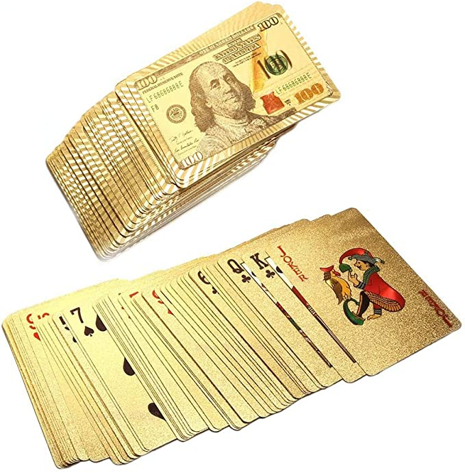 Waterproof Deck of Cards Cool Black Playing Cards with Dollar Pattern,