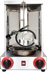 Doner Kebab Machine Liquid Propane Gyro Shawarma Grill Machine Vertical Broiler & Rotisseries For Home Restaurant Use Capacity 11lbs (Silver(LPG))