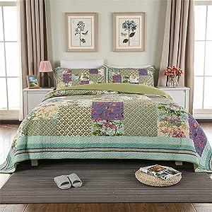 ABREEZE Luxury Quilt Set Frosted Pastel Gardenia Bohemian Cotton Patchwork Quilted Coverlet Bedspread Set Vibrant Floral Paisley Colorful Blue Lavender Green Print Queen Size 3PCS (King, Lavender)