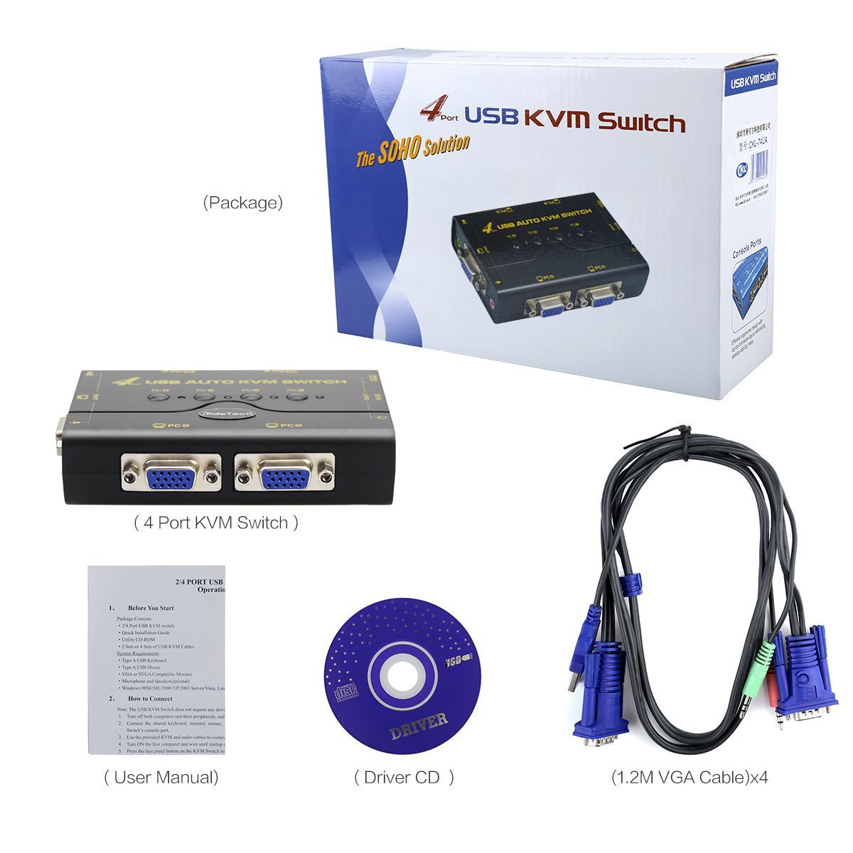 4 Port USB 2.0 VGA KVM Switch Up to 2048x1536 Resolution with USB Hub for PC/ Montior/Mouse/Keyboard Control by JideTech (Image #9)