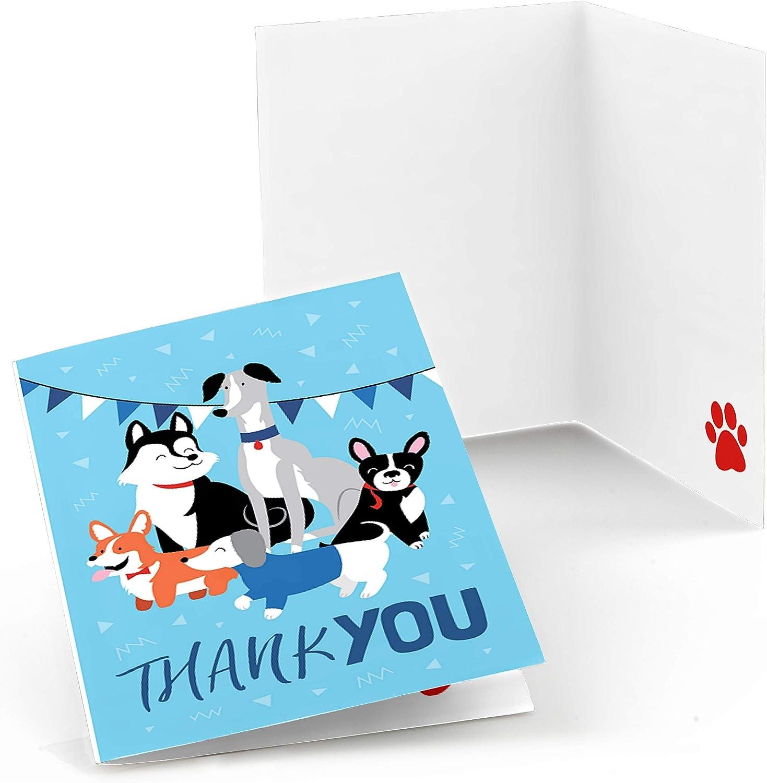 강아지처럼 PAWTY - 개 베이비 샤워 또는 생일 파티 감사 카드 (8 카운트)