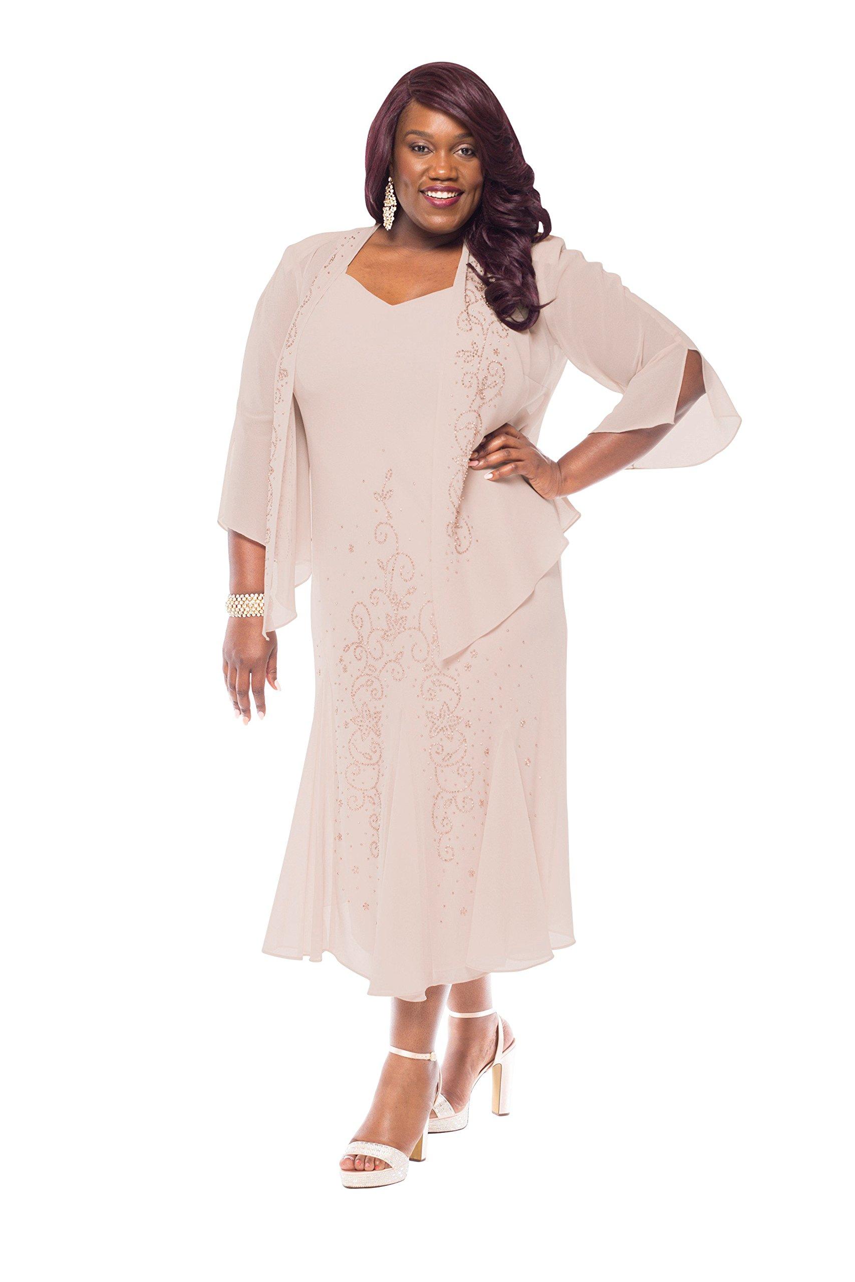 R&M Richards Women's Plus Size Beaded Jacket Dress - Mother Of The Bride Dresses (18W, Mauve)