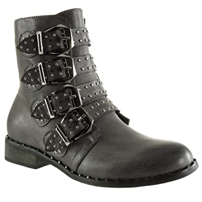 ce5c224390801 Angkorly - Women s Fashion Shoes Ankle Boots - Booty - Biker - Cavalier -  Studded -