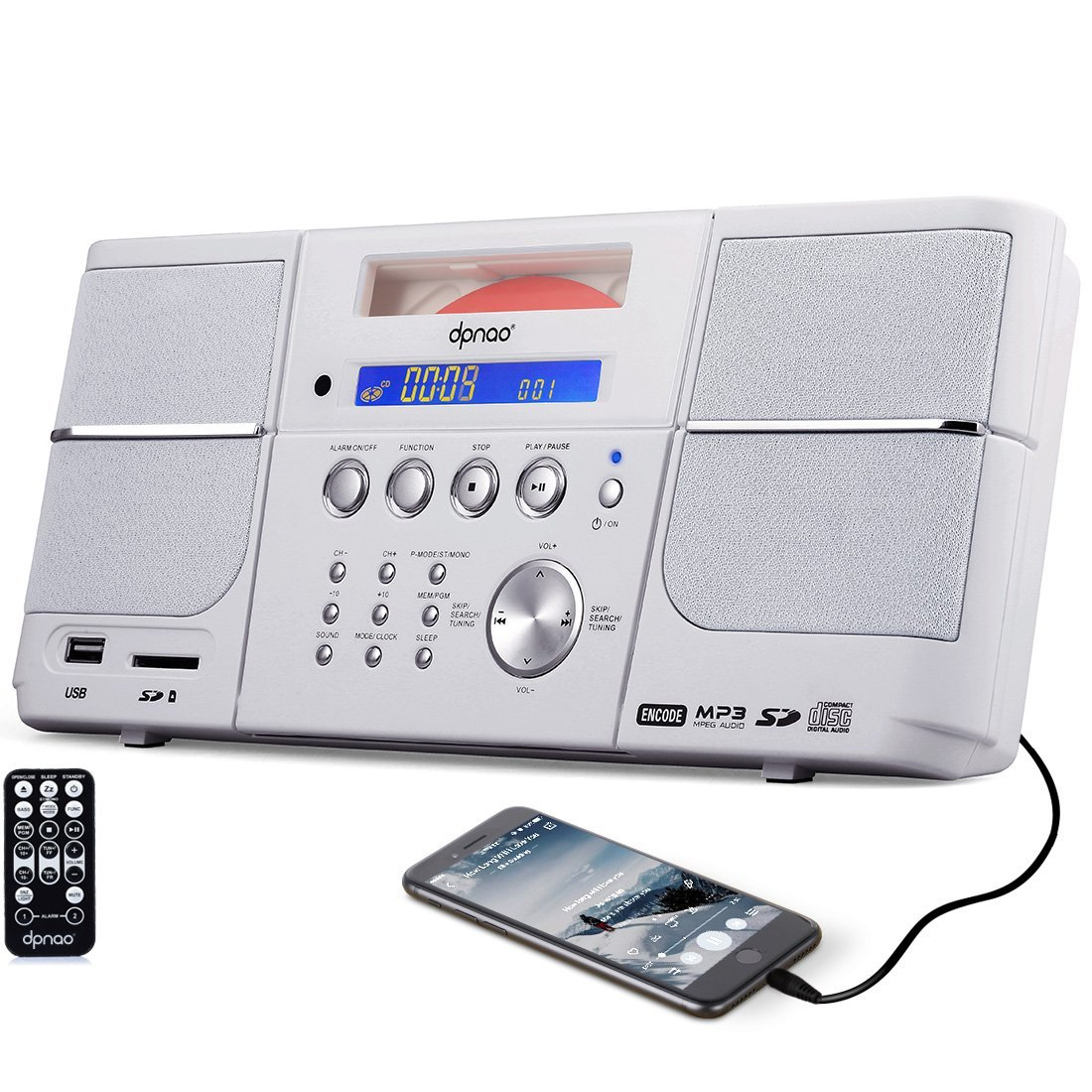 DPNAO CD Player, Portable Boombox, with FM Radio, Alarm Clock, USB, SD Card, AUX-In, Remote, Headphone Jack for Kids (White)