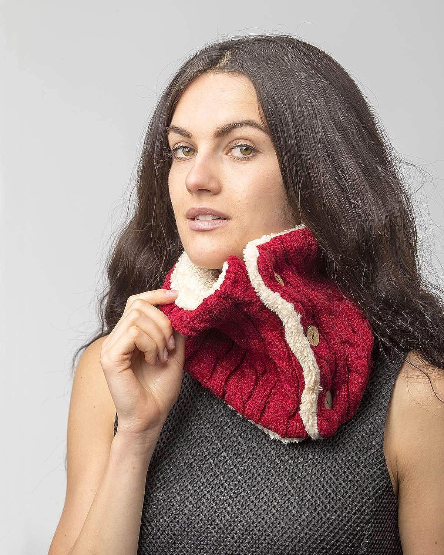 Sciarpa unisex a tinta unita multifunzionale Infinity Chunky Cable Knit Neck Warmer Button Snood Sciarpa con morbido rivestimento interno in pile Sherpa