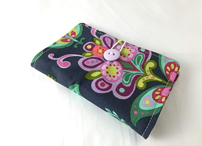 Amazon.com: Tea Bag Wallet - Tea Bag Case - Tea Bag Organizer - Amy Butler Bright Heart Folk Bloom in Midnight: Handmade