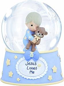 Precious Moments,Jesus Loves Me, Resin/Glass Snow Globe, Boy, Musical, 132103