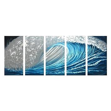 Winpeak art blue ocean waves aluminum metal wall art abstract modern contemporary decor painting large indoor