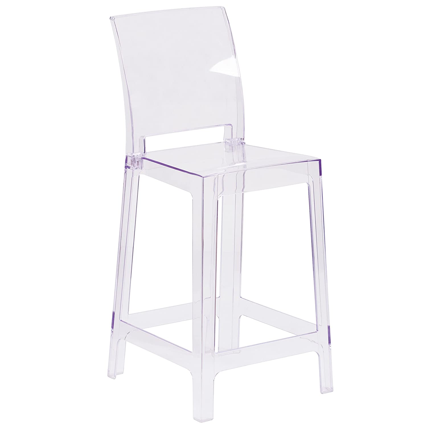 Flash Furniture Ghost Counter Stool With Square Back In Transparent Crystal by Flash Furniture