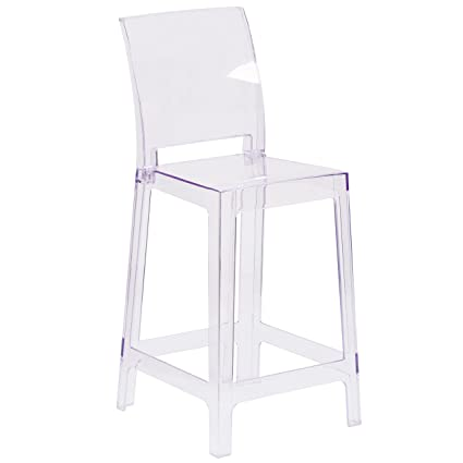 Ordinaire Flash Furniture Ghost Counter Stool With Square Back In Transparent Crystal