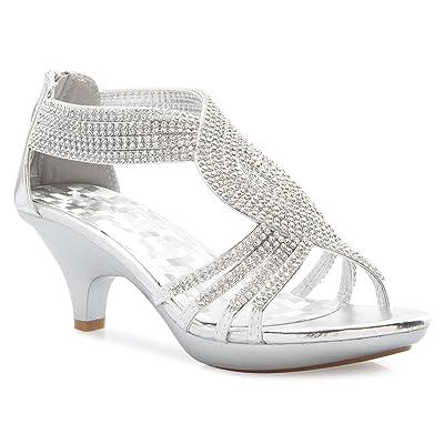 Olivia K Women's Open Toe Strappy Rhinestone Dress Sandal Low Heel Wedding Shoes | Heeled Sandals
