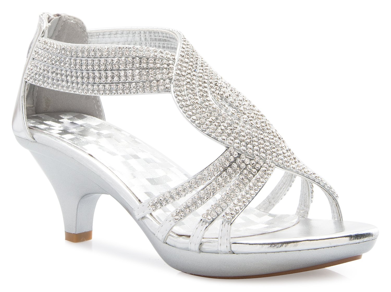 OLIVIA K Women's Open Toe Strappy Rhinestone Dress Sandal Low Heel Wedding Shoes