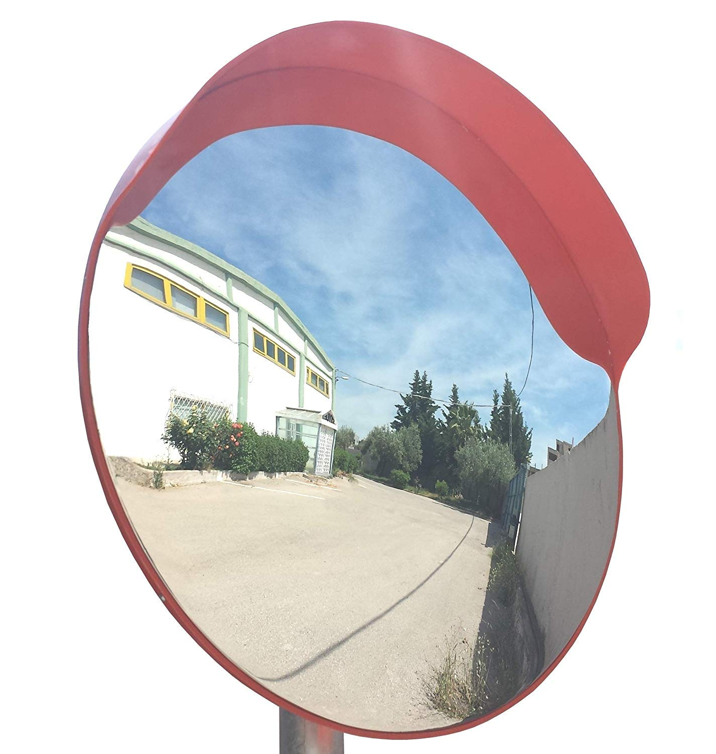 Convex Traffic Mirror 18'' for Driveway, Garage and Warehouse Safety or Store and Office Security, with Adjustable Wall and Pole Bracket, for Blind Spots and Corners, Indoor and Outdoor (Pack of 1)