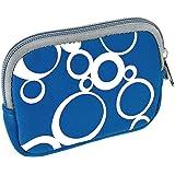 vyvy mobile® stylische Neopren Universal Kameratasche für Kompaktkameras CIRCLES Blau